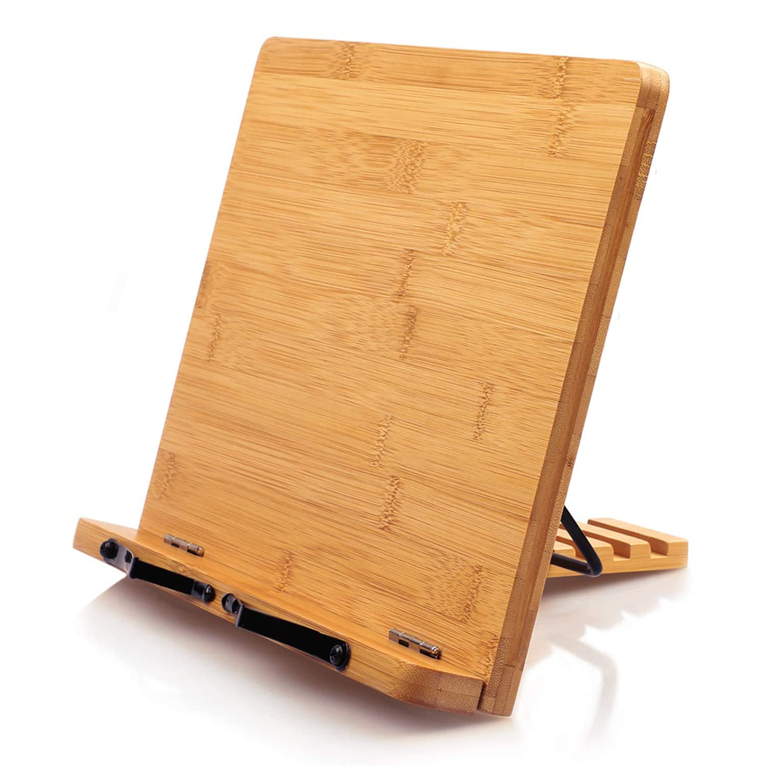 Bamboo Book Stand, Cookbook Holder Desk Reading with 5 Adjustable Height