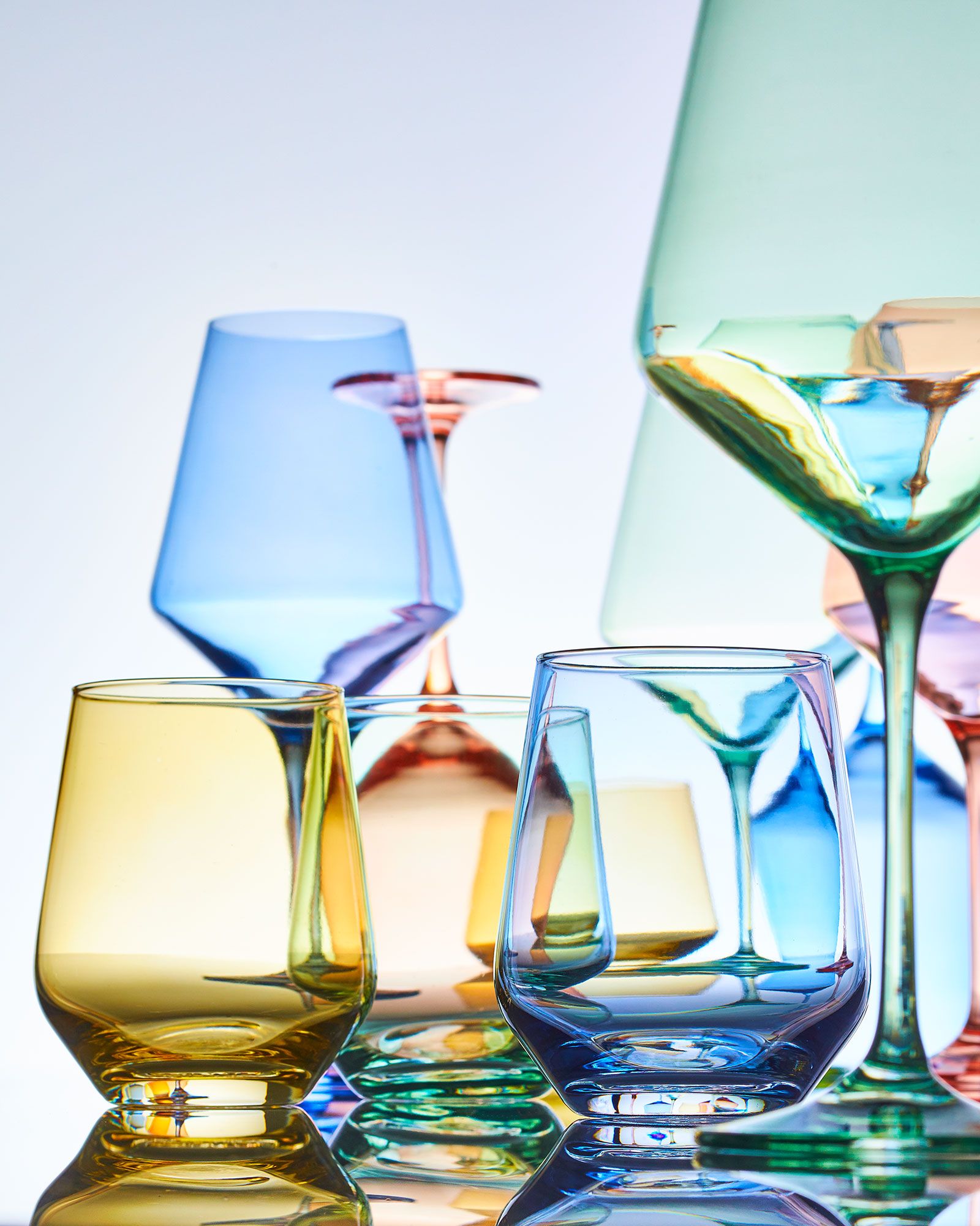 Coupes, wineglasses, and flutes from Estelle Colored Glass