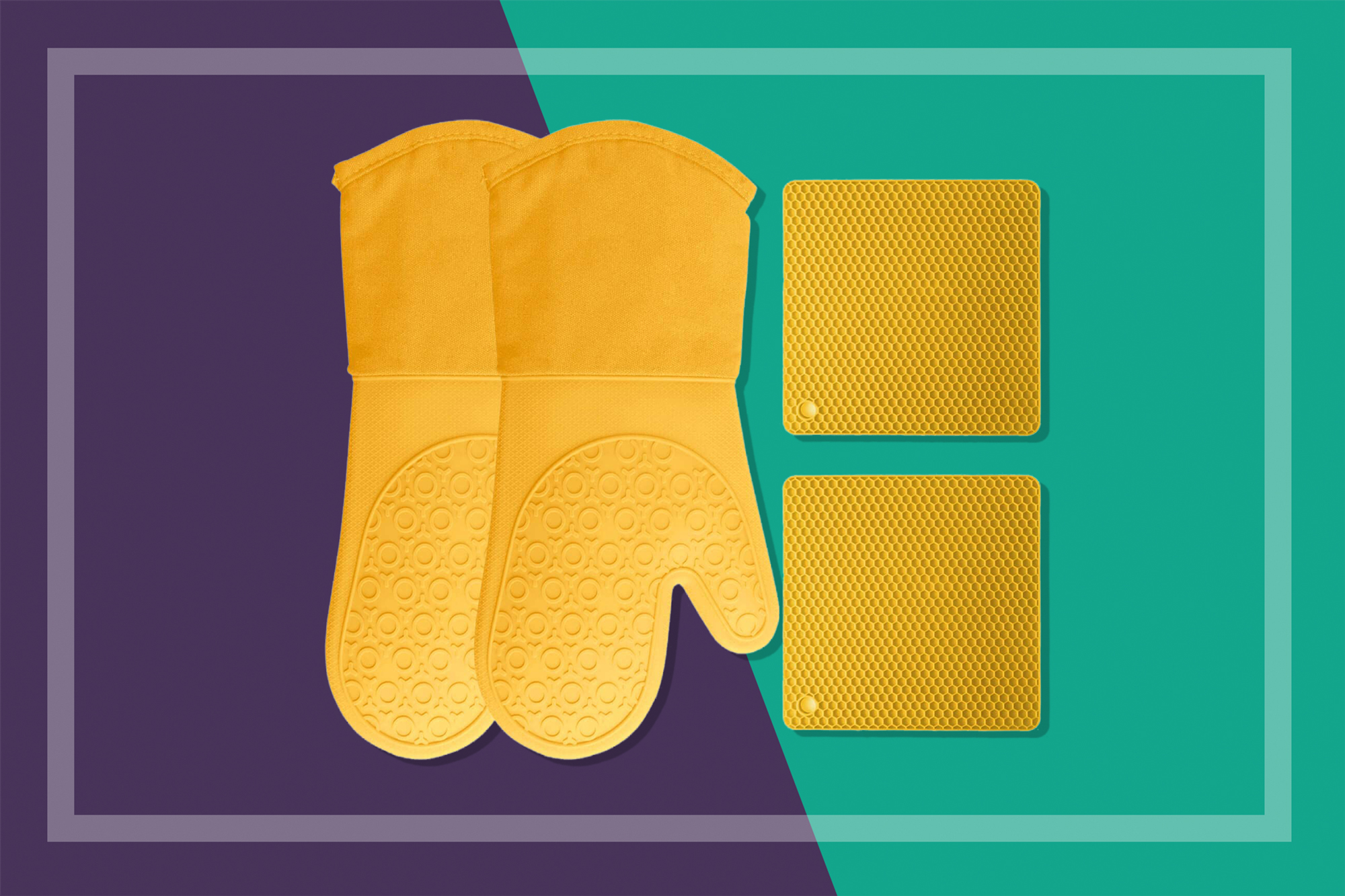 yellow silicone oven mitts and pot holders