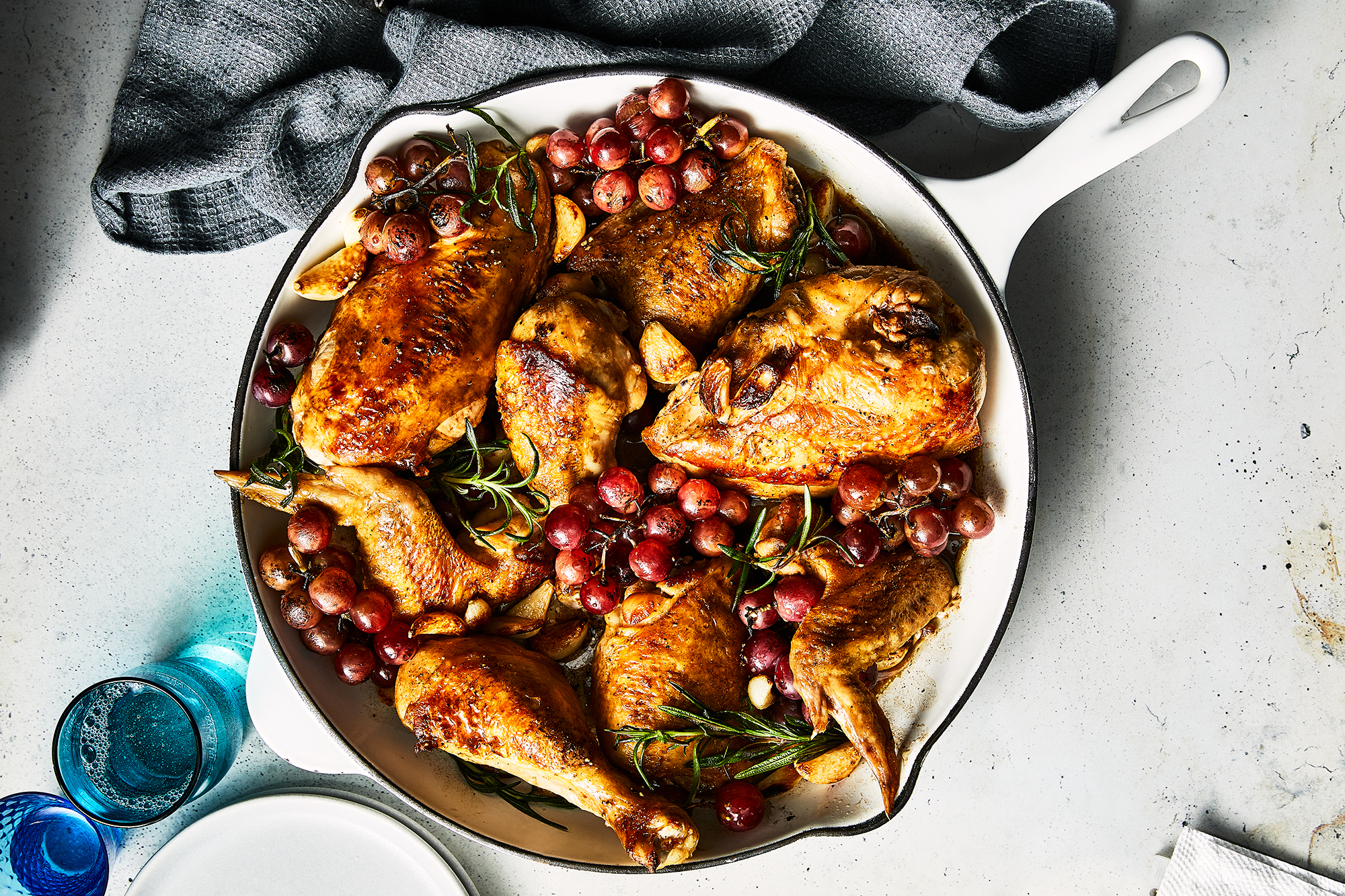 Chicken with Roasted Grapes, Garlic and Rosemary