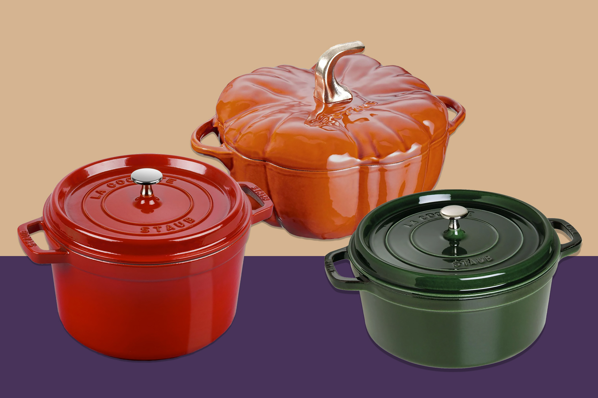 Staub dutch ovens in various colors