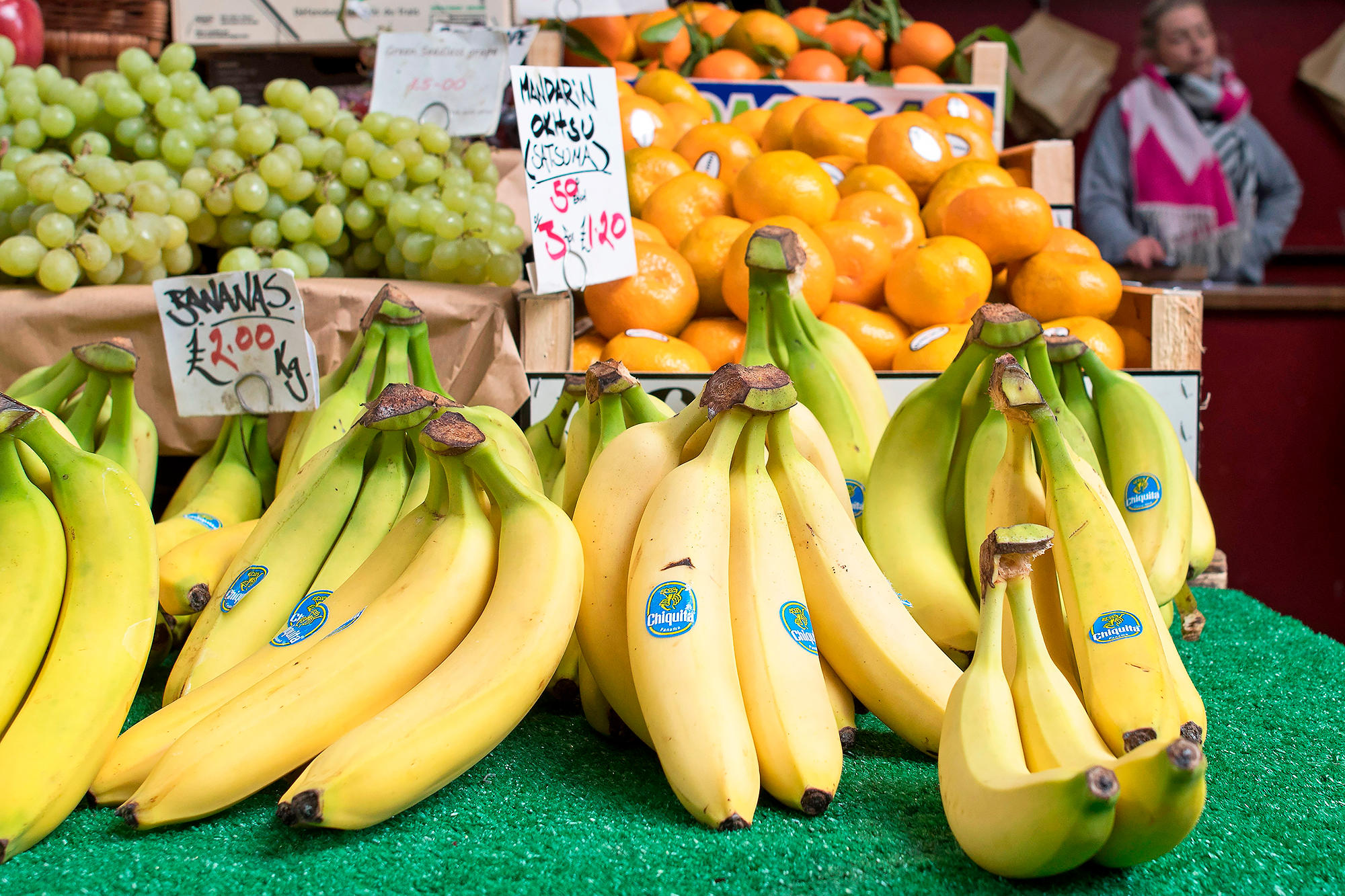 Labels show the price in pounds sterling of fruit and vegetables
