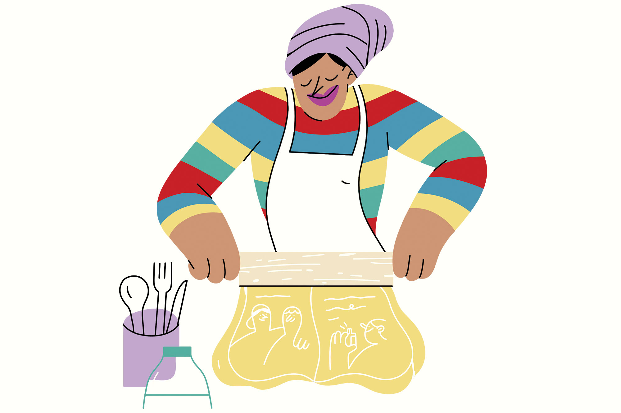 An illustration of a baker rolling out dough