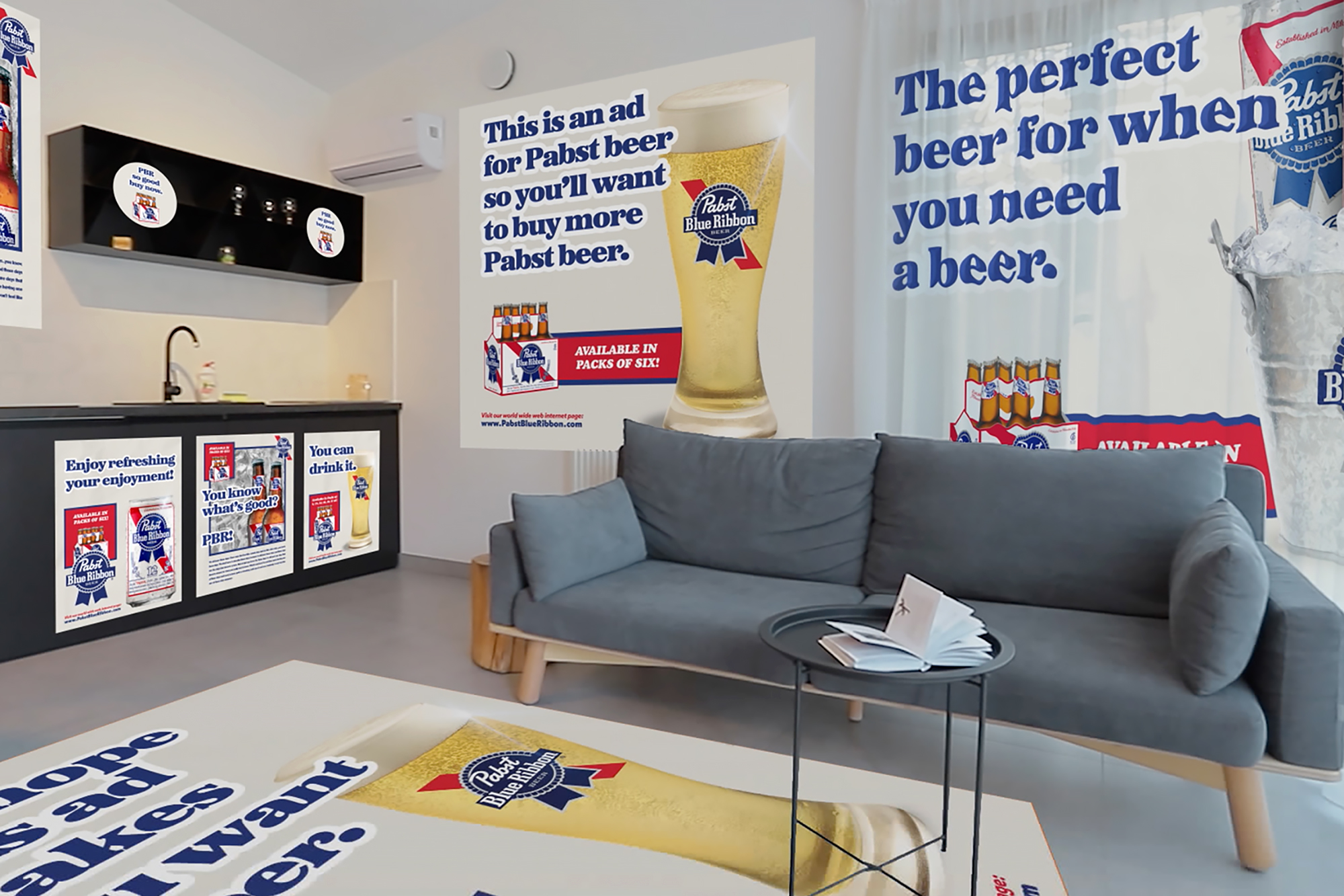 Pabst Blue Ribbon home advertising
