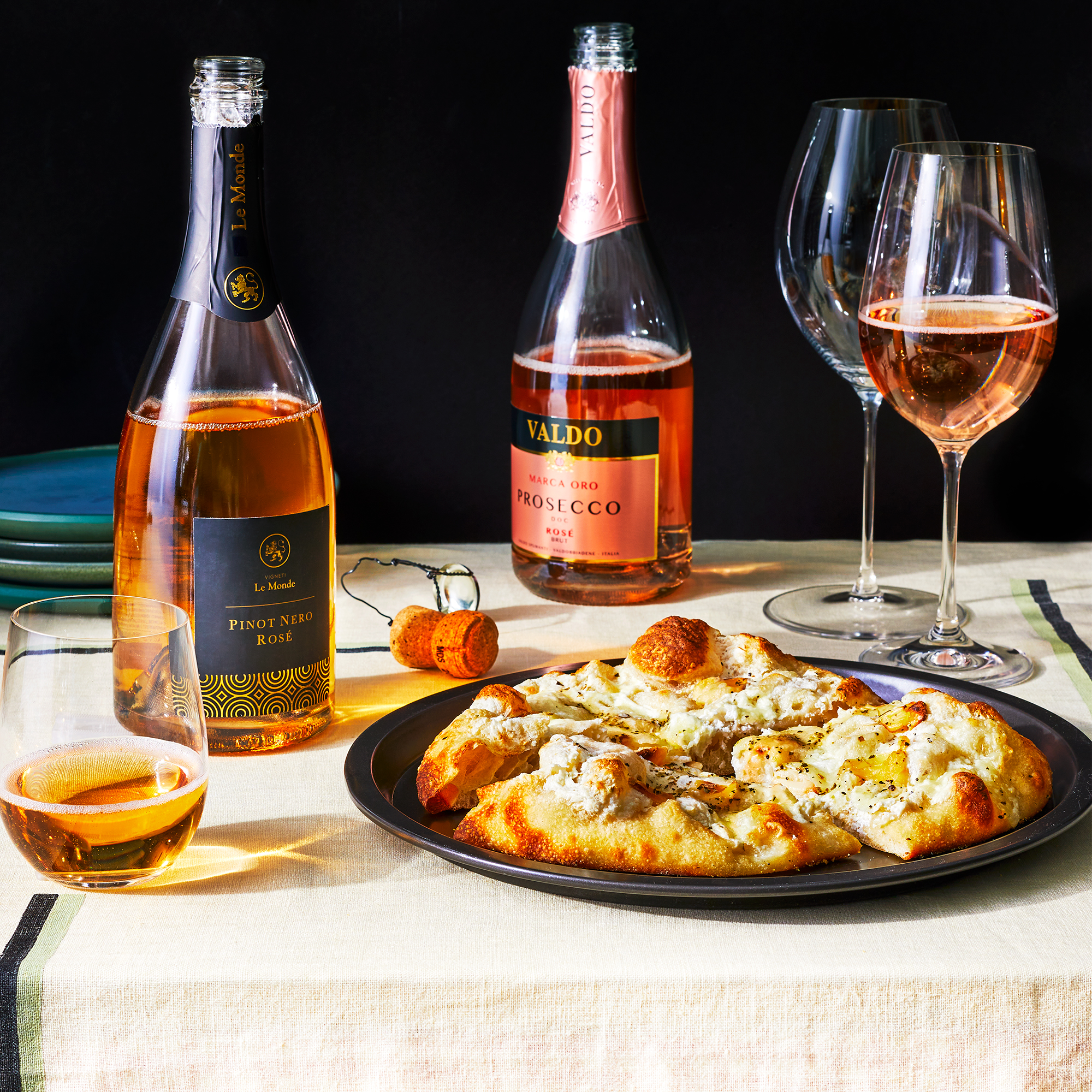 White pizza with sparkling rose