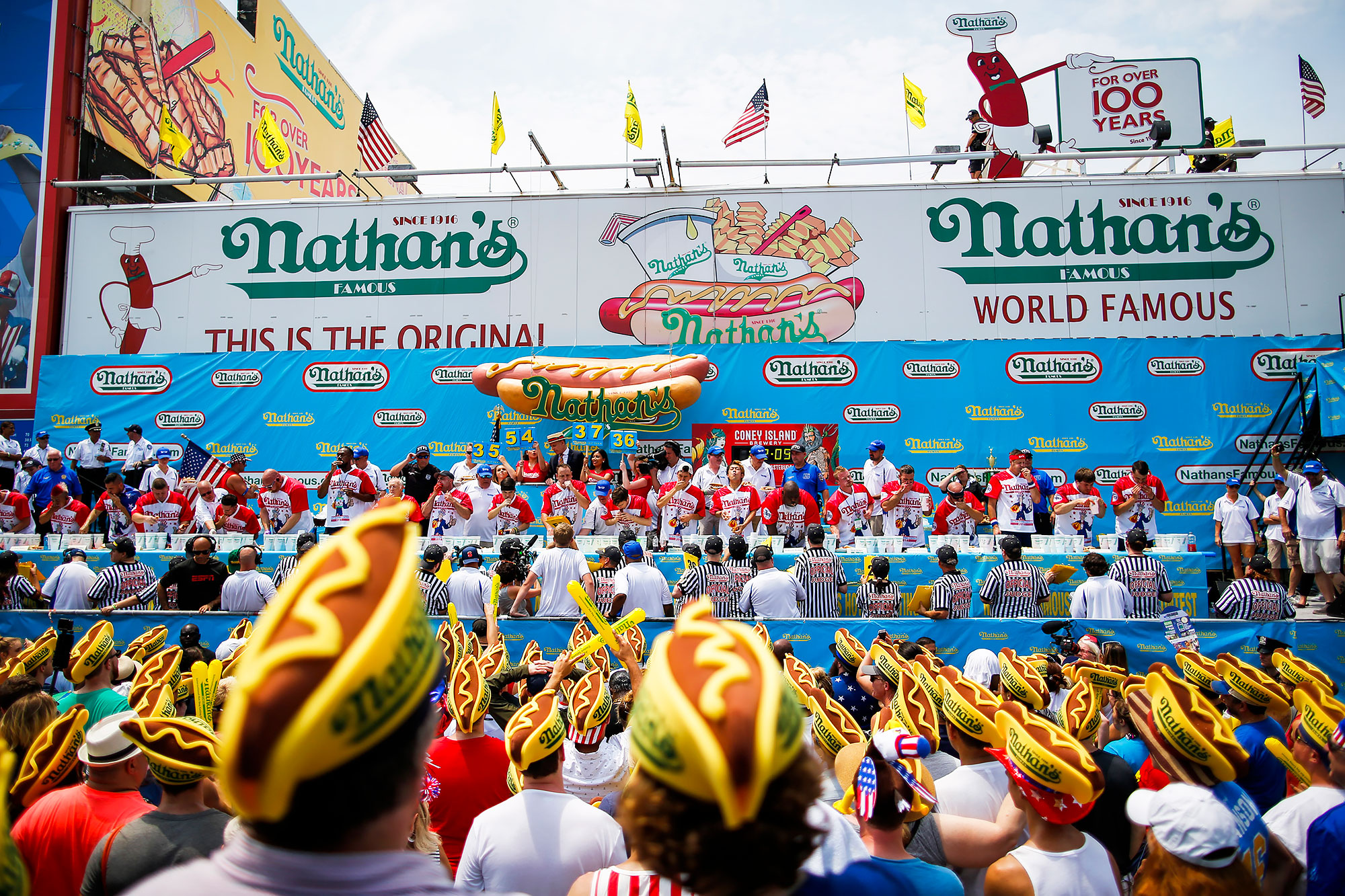 People compete during the annual Nathan's Hot Dog Eating Contest