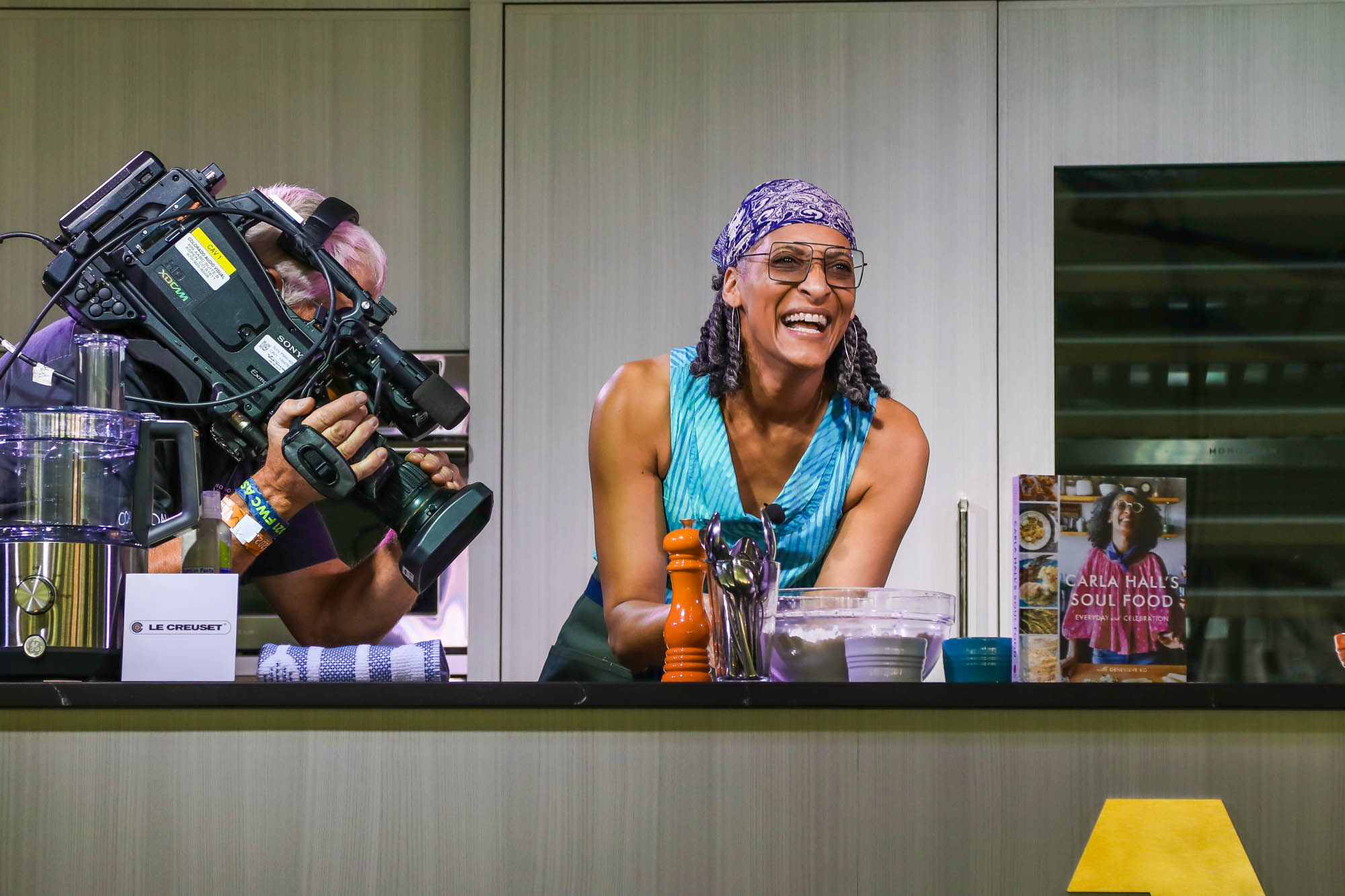 Carla Hall cooking at the Food & Wine Classic in Aspen, 2021