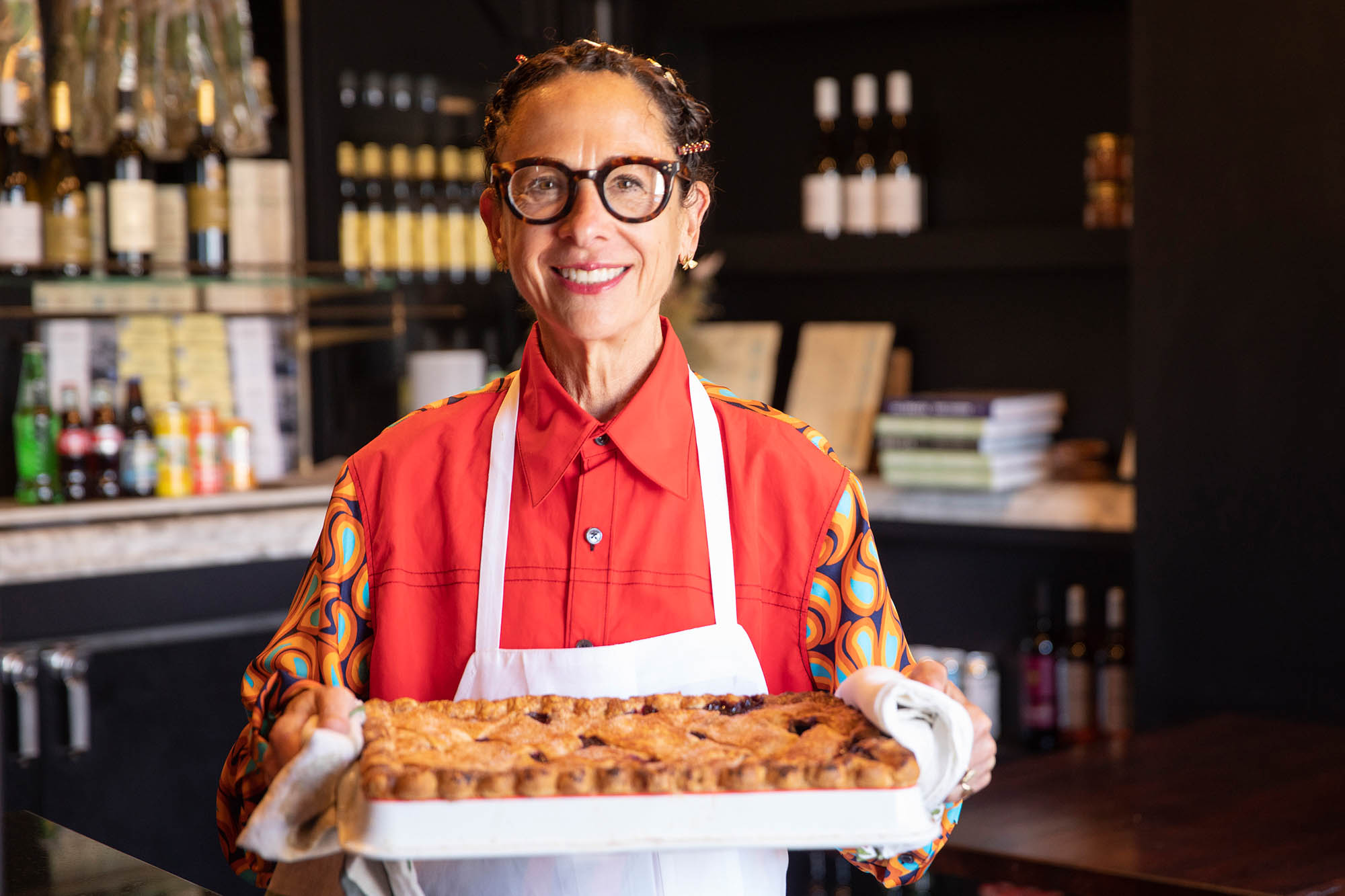 Nancy Silverton holding Made In cookware