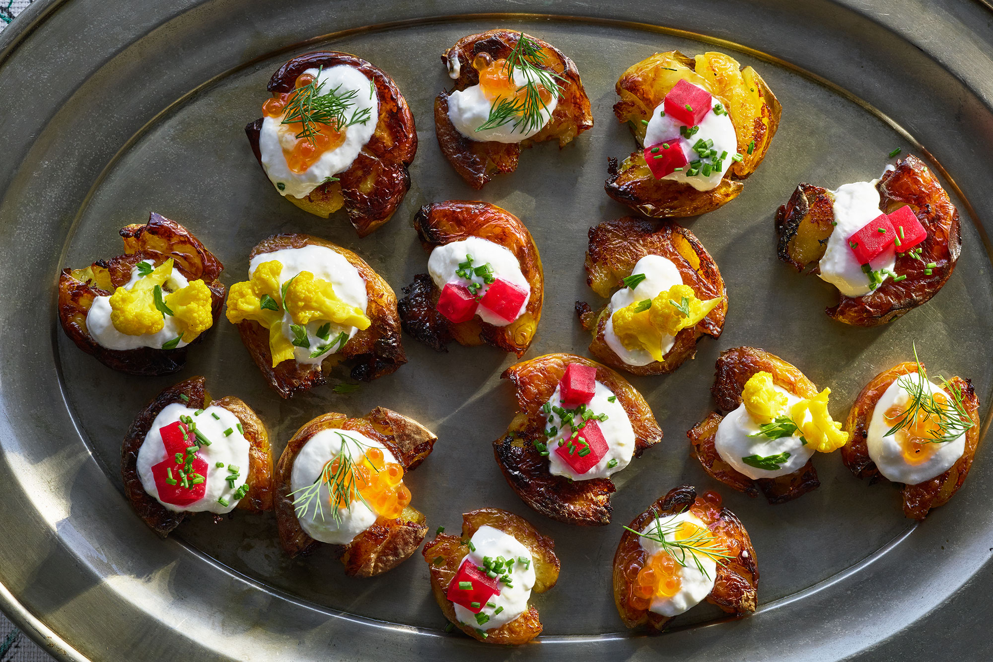 Crispy Smashed Potatoes with Gin-Spiked Sour Cream