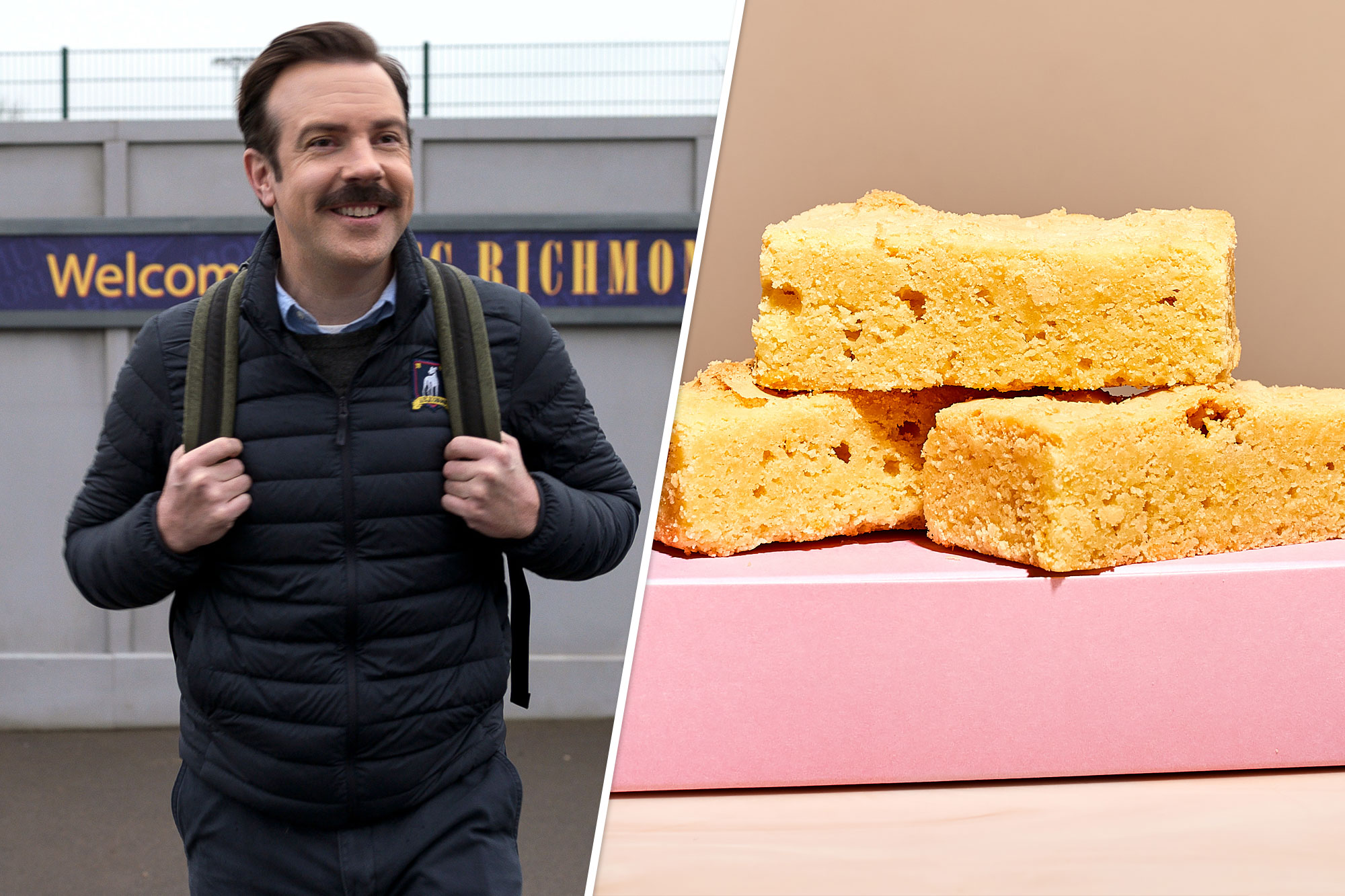 """Jason Sudeikis on """"Ted Lasso"""" (left) and the Milk Bar Biscuits (right)"""