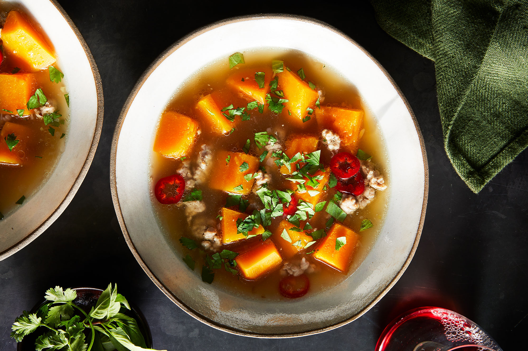 Butternut Squash and Pork Soup with Fish Sauce and Tender Herbs