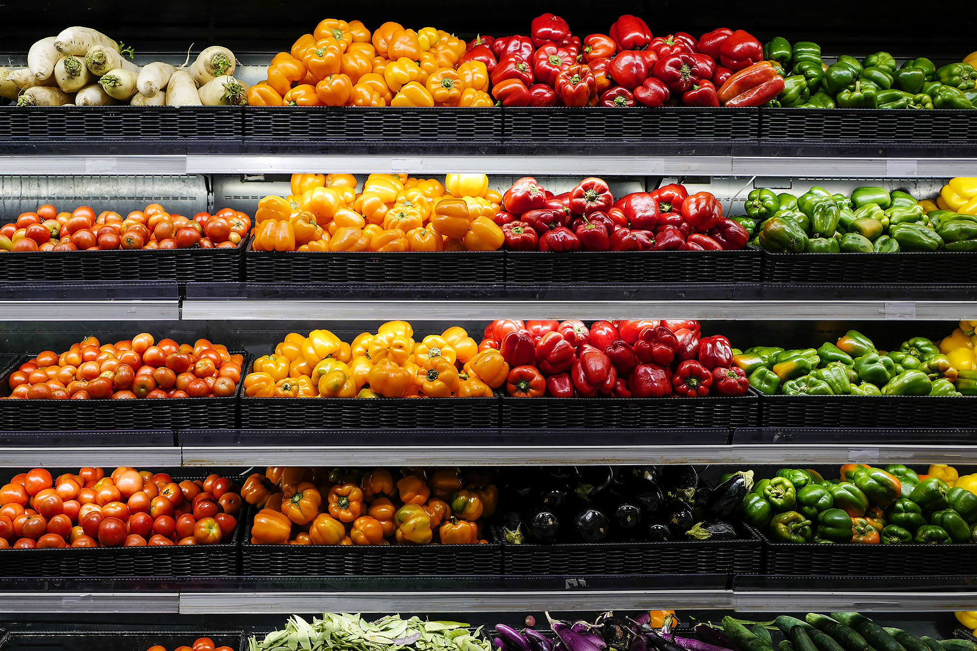 Organic produce on grocery store shelves