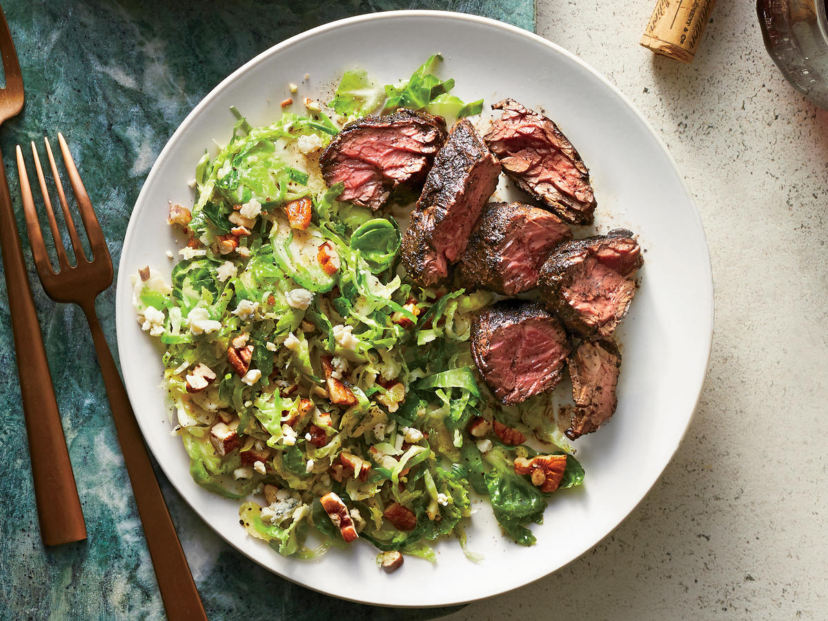 Coffee-Rubbed Steak With Brussels Sprouts Salad Recipe ...