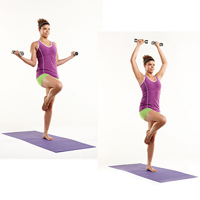 Upper body: Balance with curland press