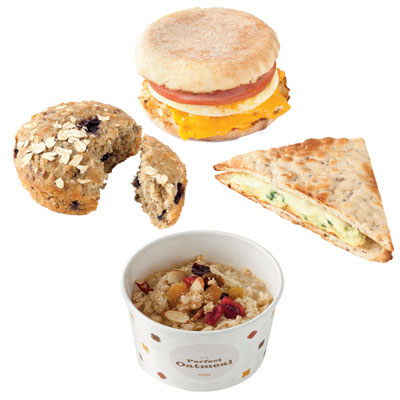 45. Healthy fast food breakfast: Dunkin' Donuts Egg White Turkey Sausage Flatbread Sandwich
