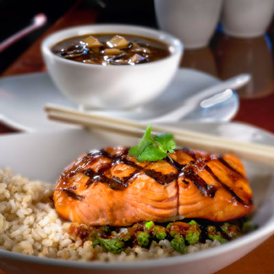 Asian Grilled Salmon on Brown Rice (P.F. Chang's China Bistro)