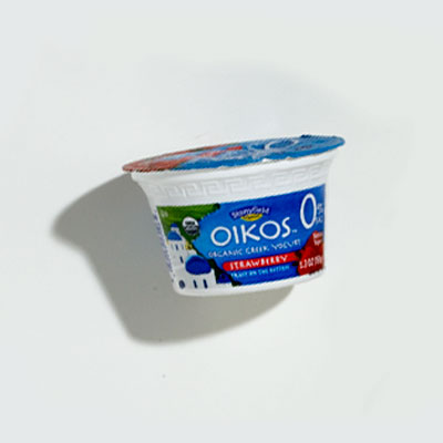 Yogurt: Stonyfield Oikos Organic Greek Yogurt, 0% Fat, Strawberry fruit on the bottom