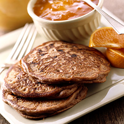 Whole-wheat pancakes and baked eggs
