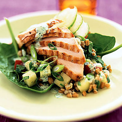 Grilled Chicken and Wheat-Berry Salad