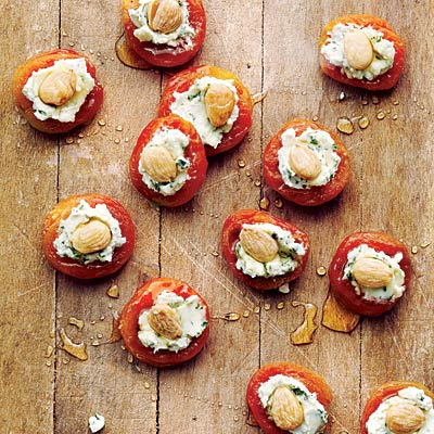 Apricots with Basil Goat Cheese and Almonds