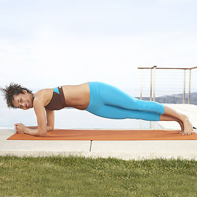 Front plank with twist