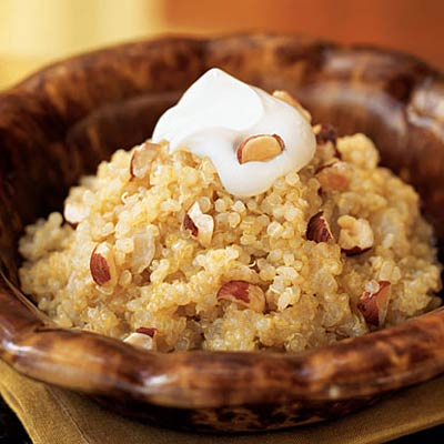 Quinoa and Onion Risotto with Creme Fraiche and Hazelnuts
