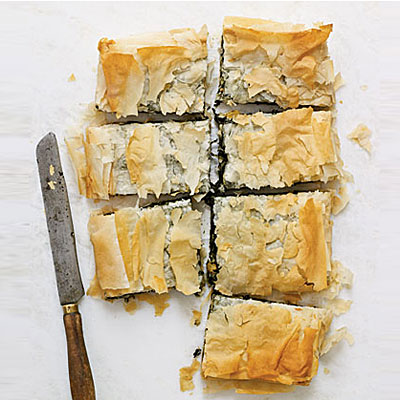 Spinach Pie with Goat Cheese, Raisins and Pine Nuts