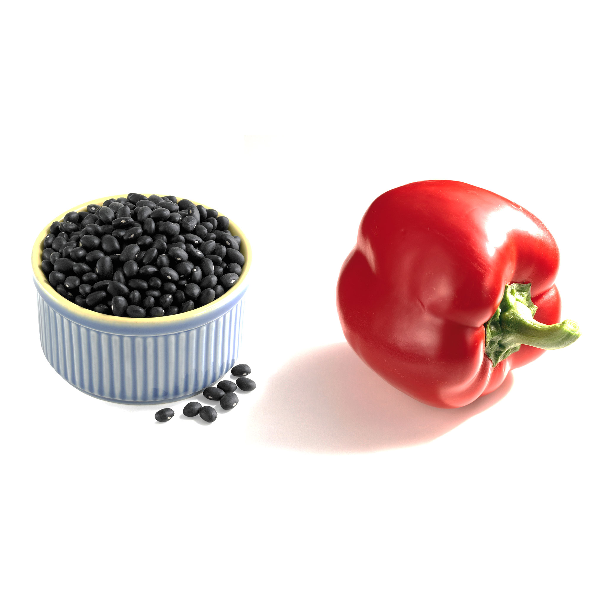 Black beans + red bell pepper