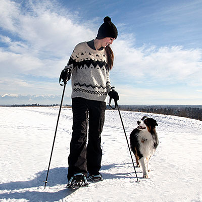 Snowshoeing and cross-country skiing