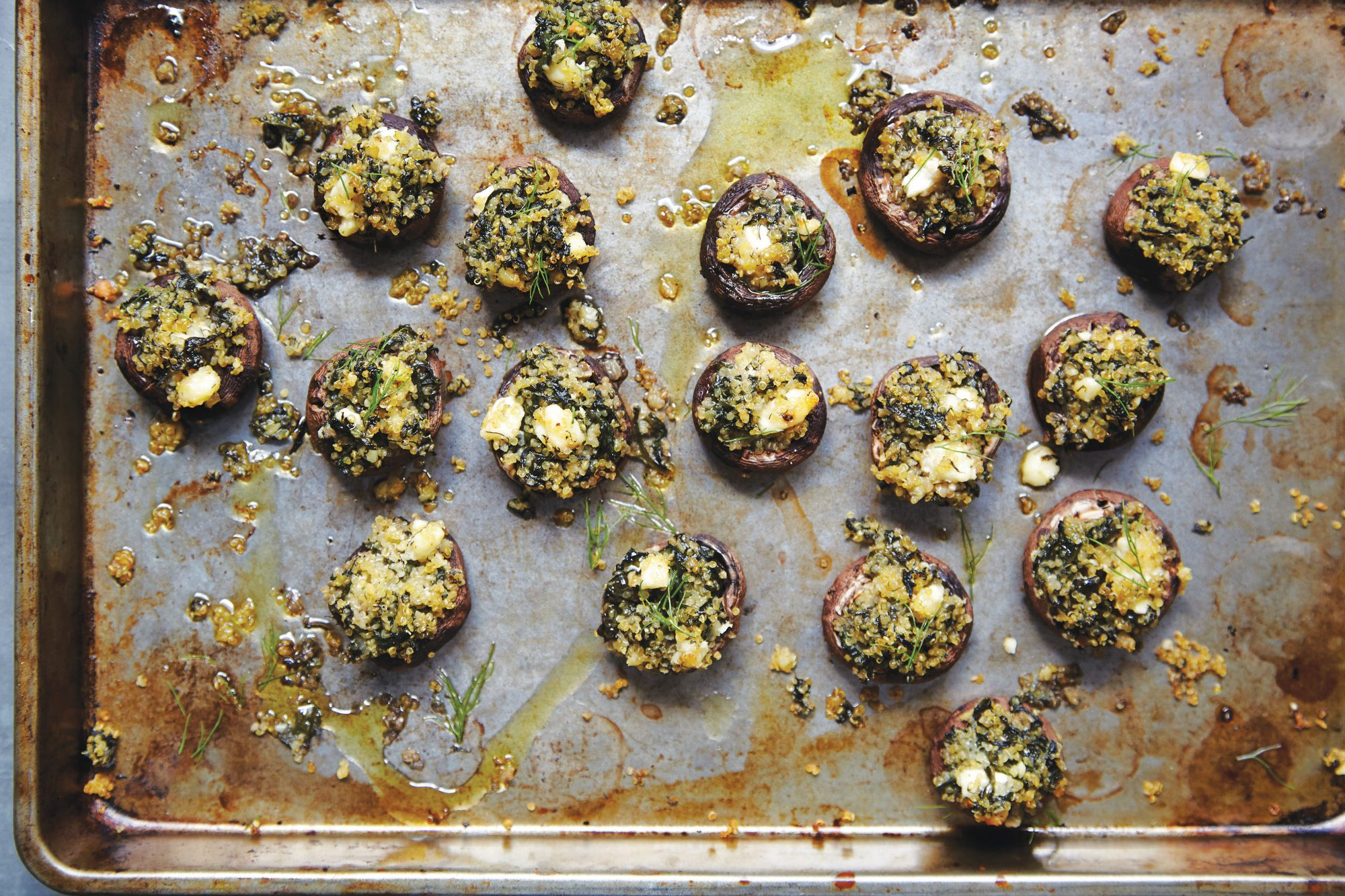 Quinoa, Feta, and Spinach-Stuffed Mushrooms