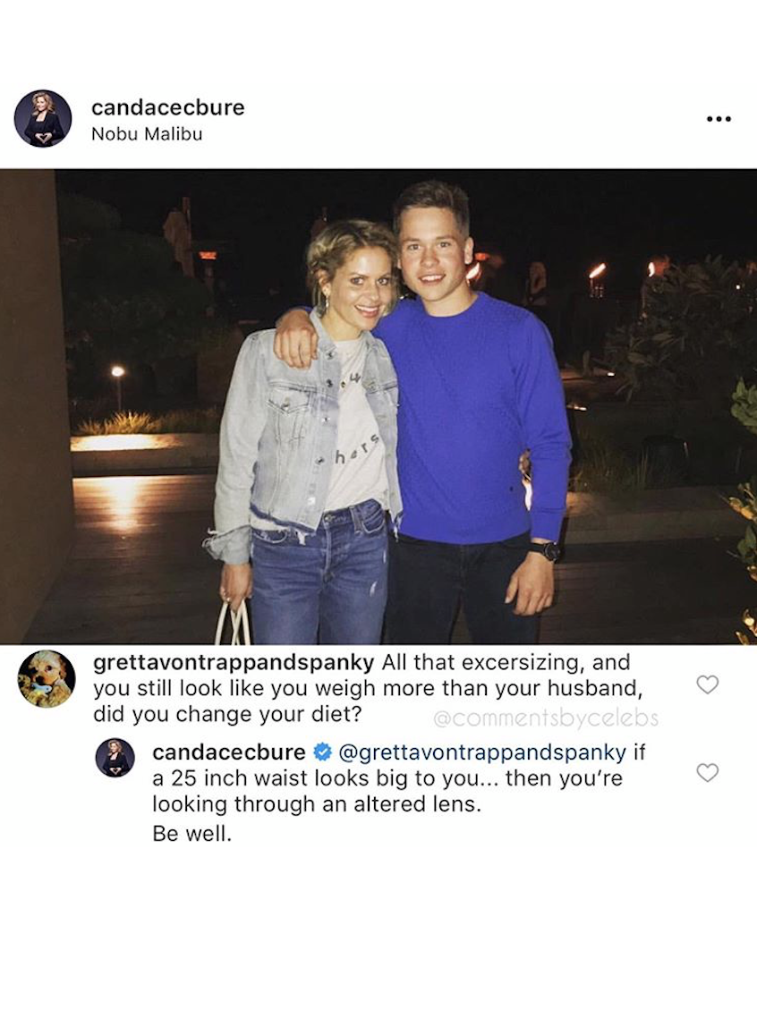 candace cameron bure claps back at troll after getting