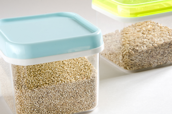 Food storage plastic containers complex carbs whole grains quinoa brown rice oats farro bulgar meal prep