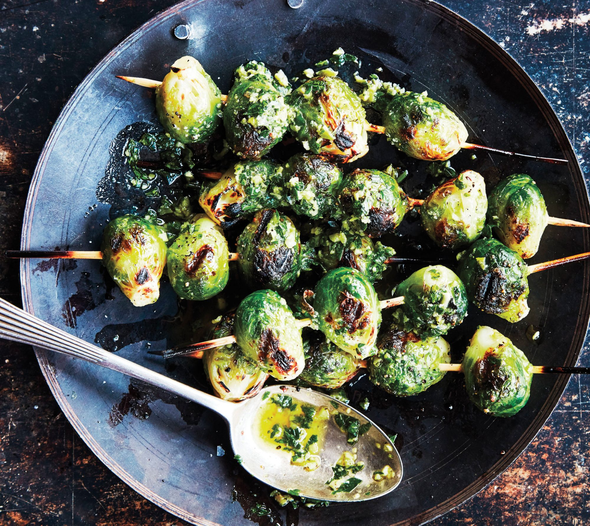 Brussels Sprout Skewers With Green Olive Dipping Sauce