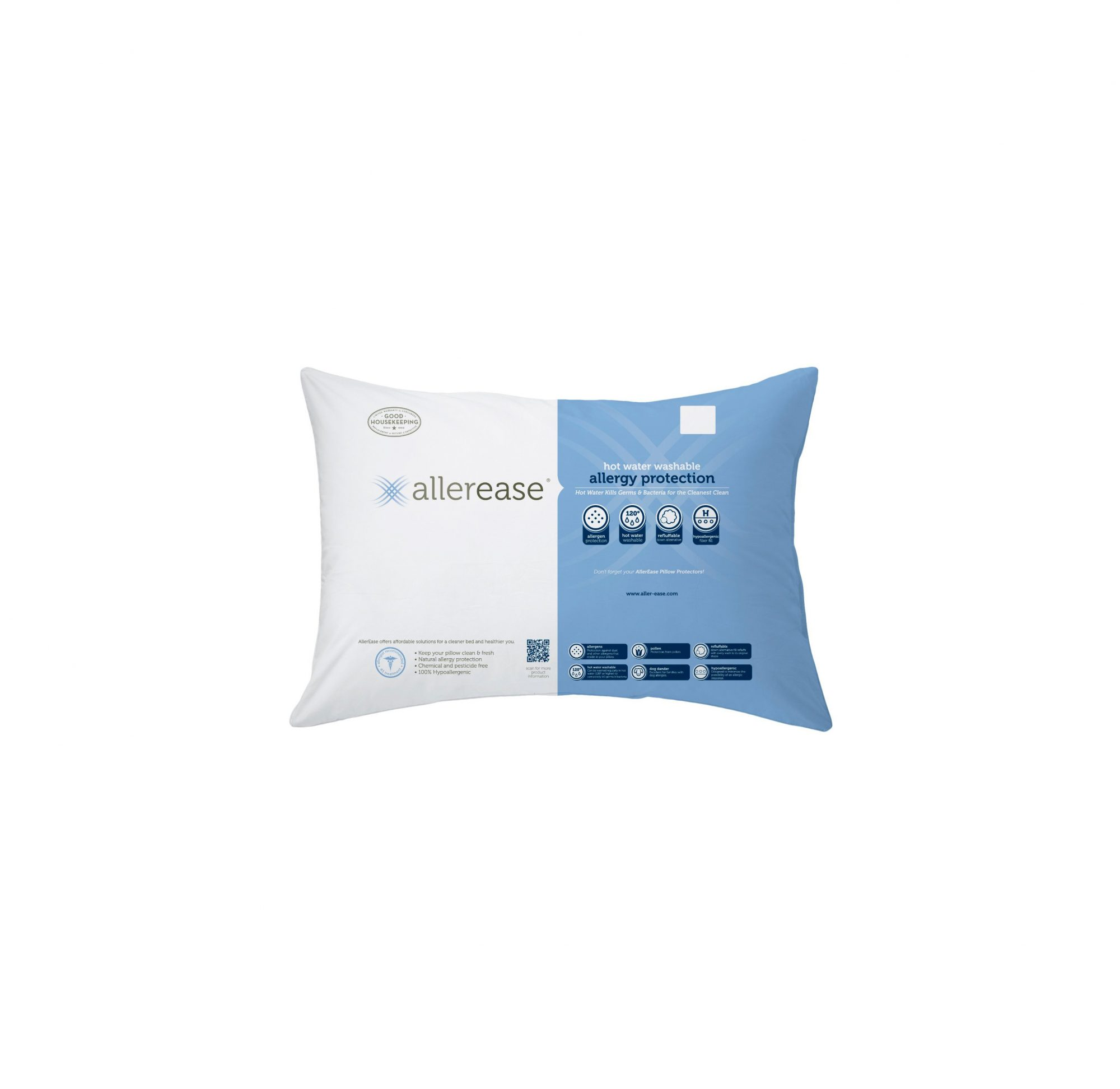 AllerEase Hot Water Washable Allergy Protection Pillow