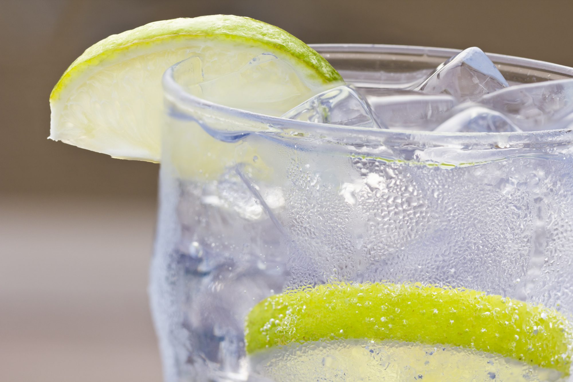 Close up of vodka soda with lime