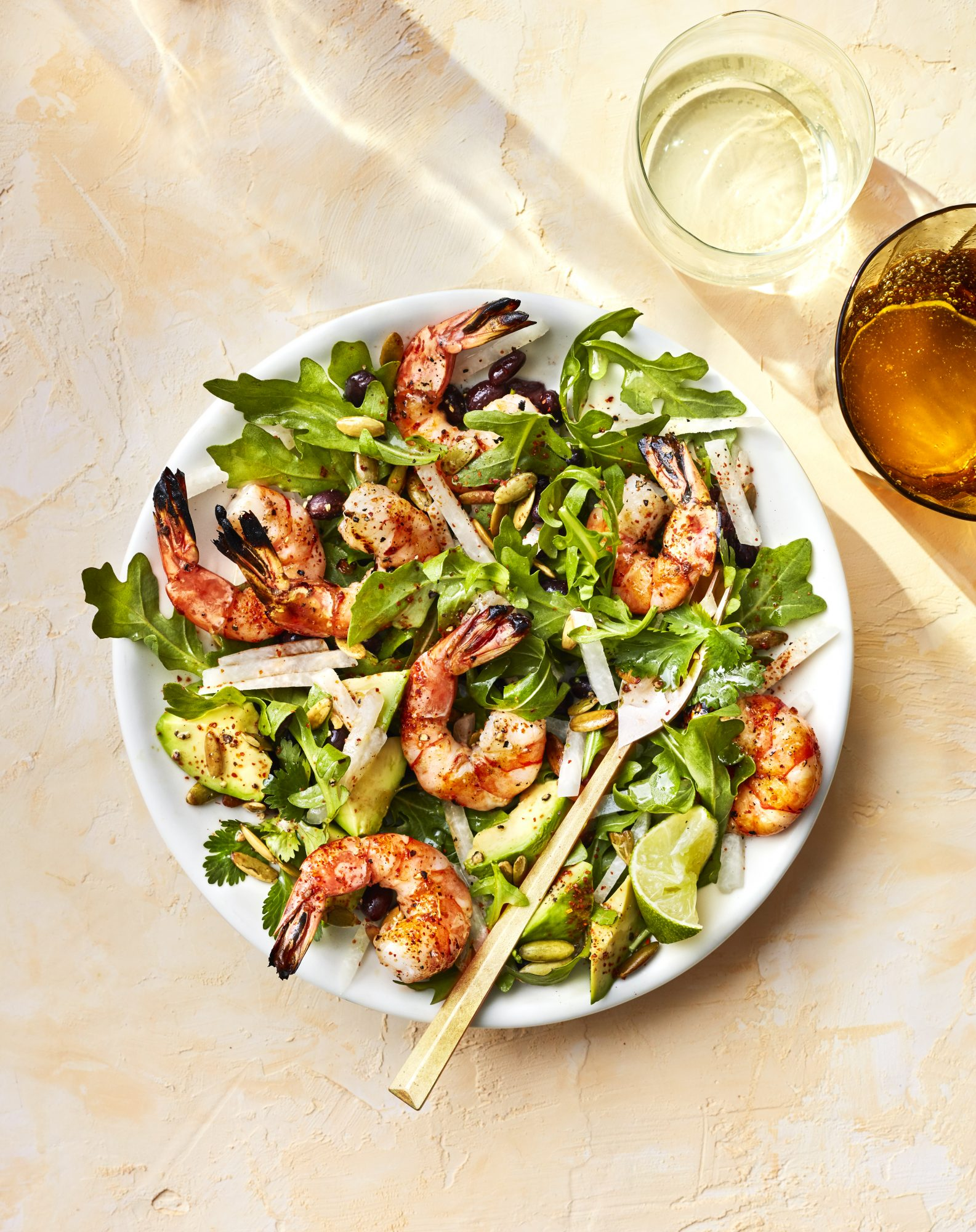 MARCH 2019 health magazine woman diet food recipe GRILLED SHRIMP WITH BLACK BEANS, JICAMA, AND AVOCADO