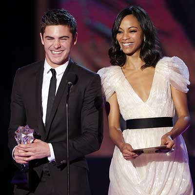 Parties - Zac Efron and Zoe Saldana in Jason Wu - 2010 Critics' Choice Awards