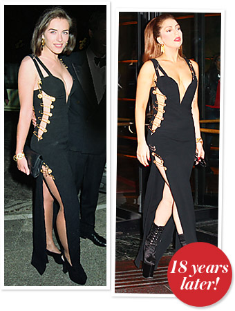 Lady Gaga Wears The Iconic Versace Safety Pin Dress