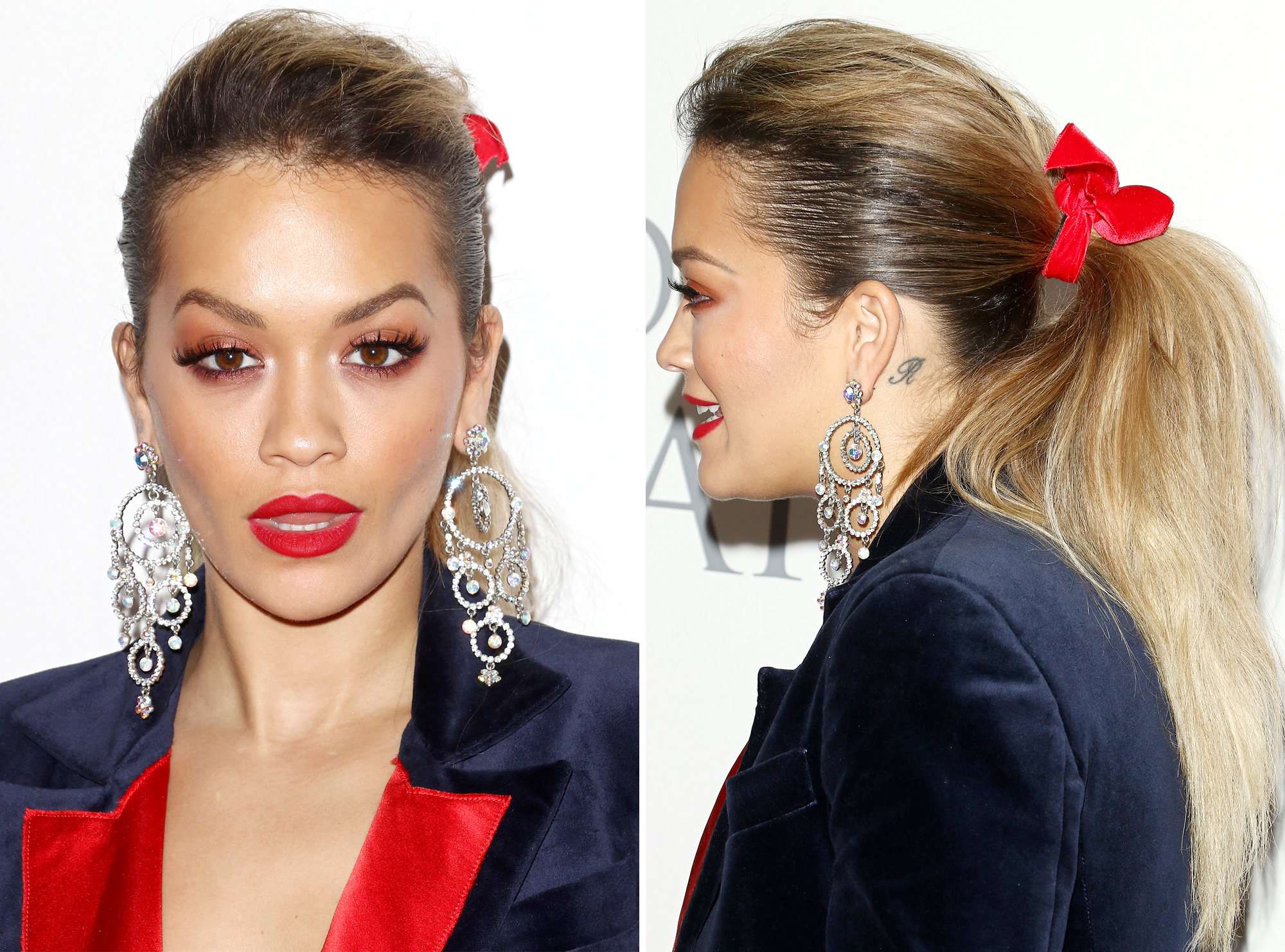 <p>Rita Ora's Red Hair Ribbon </p>