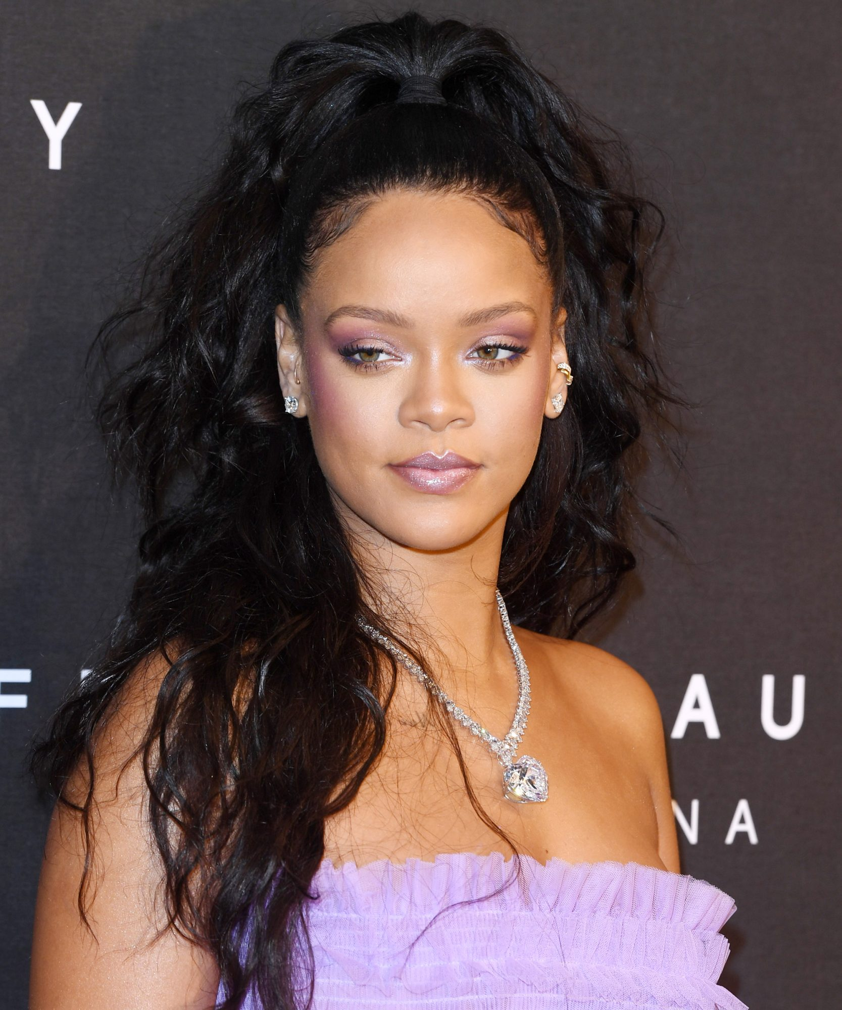 <p>Rihanna's Half-Up Half-Down High Ponytail </p>