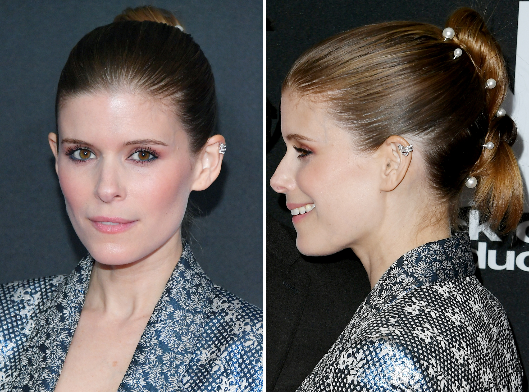 <p>Kate Mara's Pearl Hair Pins </p>