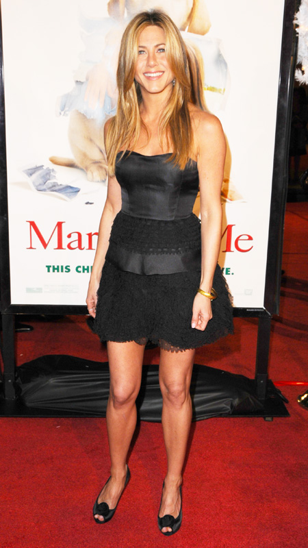 Jennifer Aniston little black strapless dress