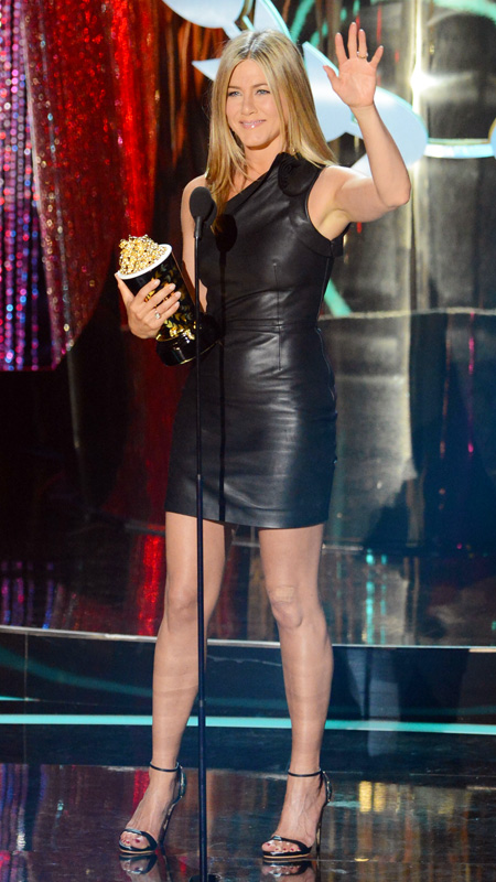 Jennifer Aniston little black leather dress