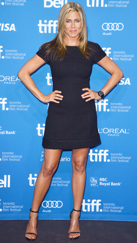 Jennifer Aniston little black short sleeve dress