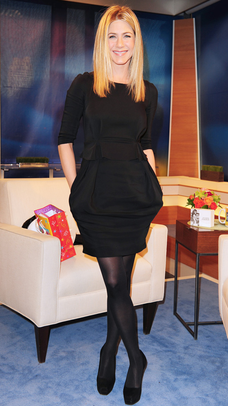 Jennifer Aniston little black dress and black tights