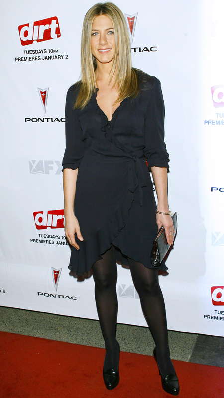 Jennifer Aniston little black wrap dress