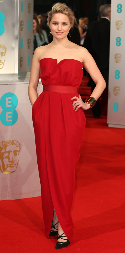 Dianna Agron in a crimson strapless gown.