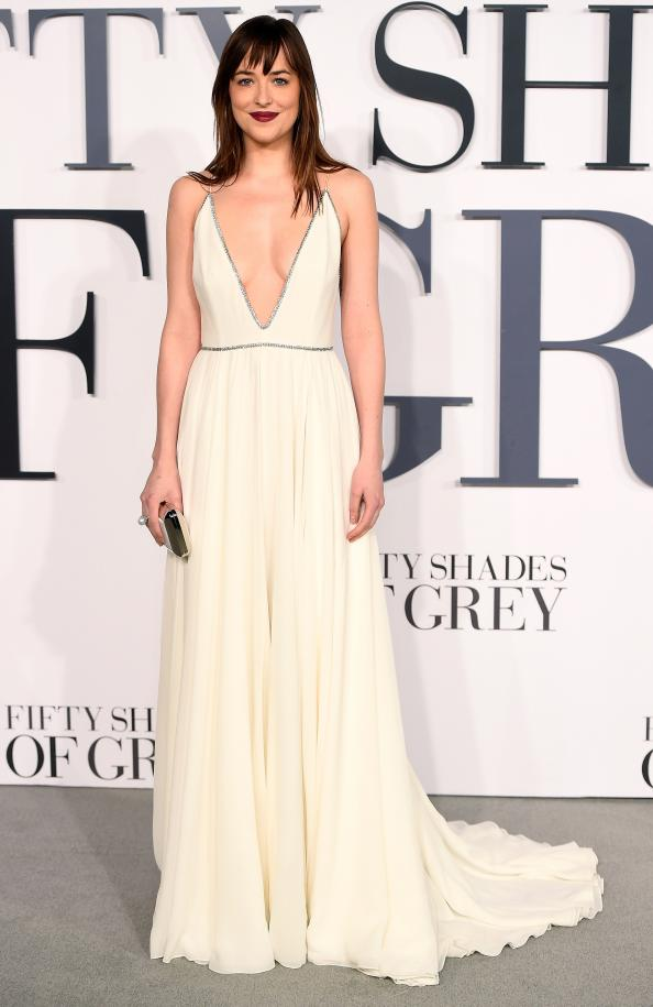 Dakota Johnson Turns Grecian Goddess for <em>Fifty Shades</em> London Premiere