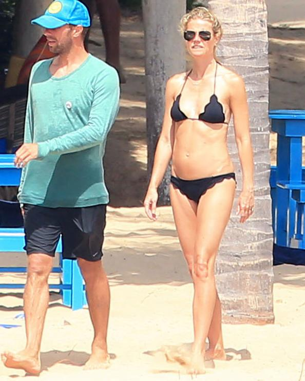 Gwyneth Paltrow Hits the Beach in a Scalloped Bikini with Chris Martin