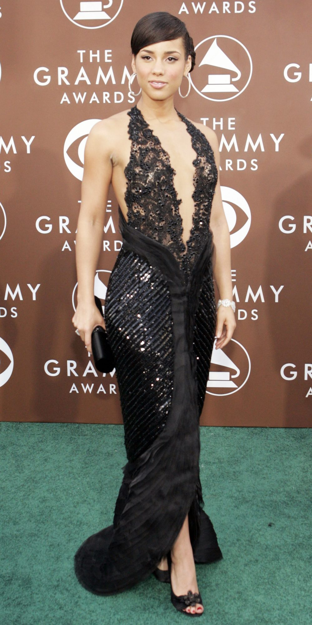 Singer Alicia Keys poses at Grammy Awards in Los Angeles